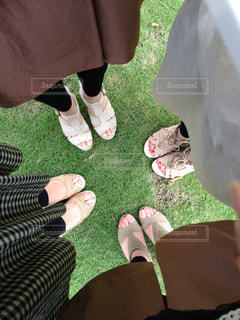 サンダルを履いた足元の写真の写真・画像素材[1477818]