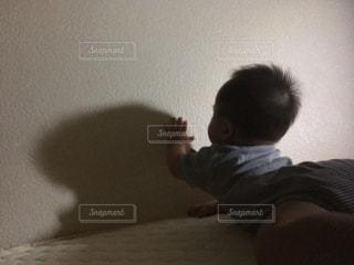 自分の影で遊ぶ赤ちゃんの写真・画像素材[1484477]