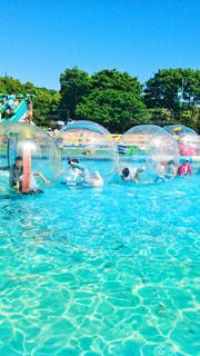 伊豆ぐらんぱる公園の水のアトラクションで遊ぶグループの写真・画像素材[1567238]