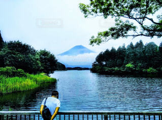 田貫湖と富士山の写真・画像素材[1588356]