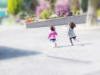 公園で走る2人の子供の写真・画像素材[1813896]