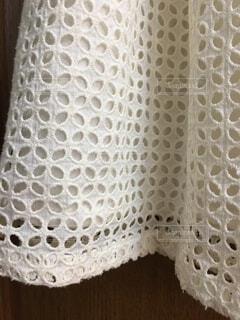 白い木綿のレース生地の写真・画像素材[1520084]