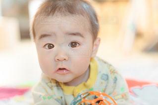 うつ伏せしている赤ちゃんの写真・画像素材[1881820]