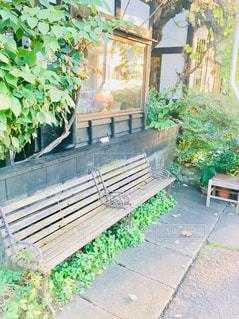 店先のベンチの写真・画像素材[1557380]