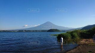 河口湖から見る富士山の写真・画像素材[1501632]