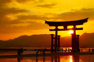 厳島神社鳥居と夕日の写真・画像素材[1647709]