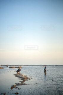 海で撮影をする男女の写真・画像素材[1818792]