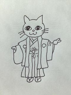 猫の男の子の七五三の着物姿。の写真・画像素材[1555203]