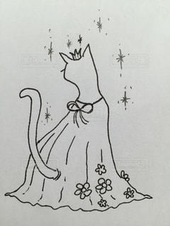 ドレスを着た、後ろ向きのねこのお姫様。にゃあはん。の写真・画像素材[1560596]