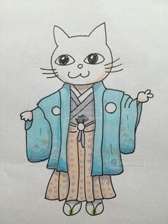 七五三のネコの男の子の着物姿。にゃあはん。の写真・画像素材[1573266]