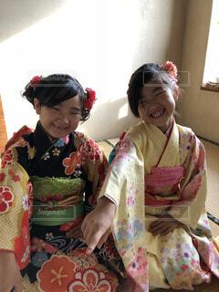 七五三の双子姉妹の写真・画像素材[1614503]
