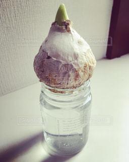 テーブルの上に座ってガラス ボトルの写真・画像素材[1514590]