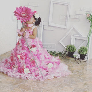 ピンクの花の少女の写真・画像素材[1517069]