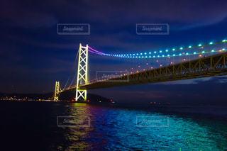 明石海峡大橋ライトアップの写真・画像素材[1517155]