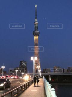 夜の東京スカイツリーの写真・画像素材[1520282]
