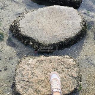 飛び石を渡りますよ〜の写真・画像素材[2674952]
