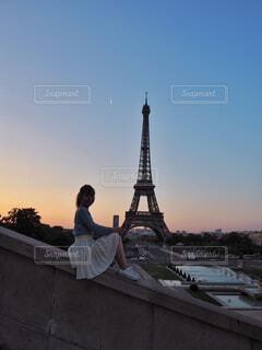 早朝のエッフェル塔と。の写真・画像素材[1587822]