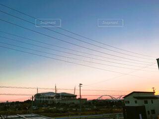 部屋から見える豊田スタジアムの写真・画像素材[1555845]