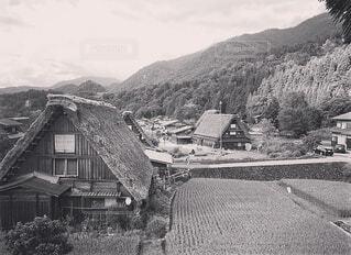大きな白い建物の背景の山に - No.1125080
