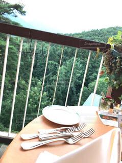 旅行先のホテルのテラスでディナーの写真・画像素材[1541066]