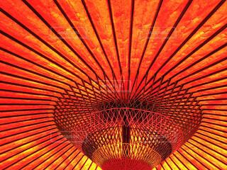 大きな赤い傘の写真・画像素材[1542535]