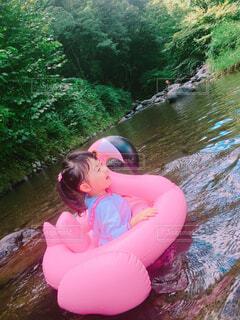 川遊びをする女の子の写真・画像素材[1545659]