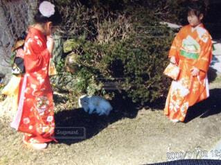 草の中に立っている人々 のグループの写真・画像素材[1542660]