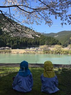 桜の下で川を眺める子供の写真・画像素材[1549107]