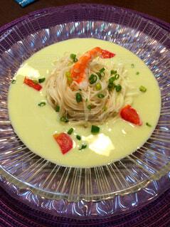 テーブルの上に食べ物のプレートの写真・画像素材[1548955]
