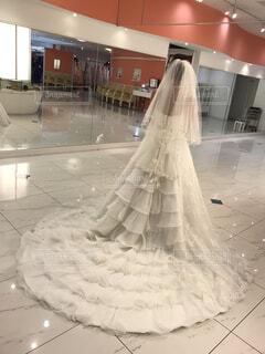 純白のウェディングドレスを着た女性の後ろ姿の写真・画像素材[1563513]