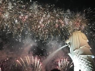 マーライオンと花火の写真・画像素材[2336587]