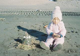 冬の砂遊びの写真・画像素材[1583747]