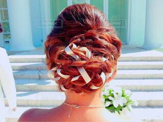 結婚式の髪型の写真・画像素材[1557430]