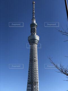 バック グラウンドで東京スカイツリーの空背景を持つ大規模な背の高い塔の写真・画像素材[1725215]