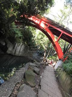 川に架かる赤い橋の写真・画像素材[1567948]