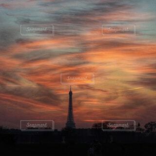 夕焼けのモンサンミッシェルの写真・画像素材[1593519]