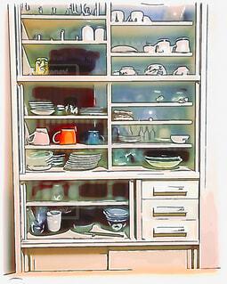 食器棚(イラスト風)の写真・画像素材[1600025]