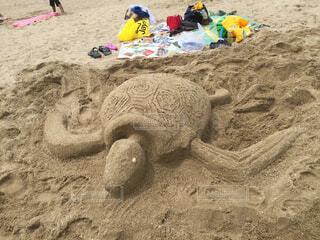 砂浜でアートの写真・画像素材[1655631]