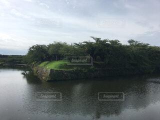 五稜郭と池の写真・画像素材[1602341]
