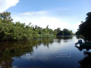 水の上の小さなボートの写真・画像素材[1602156]