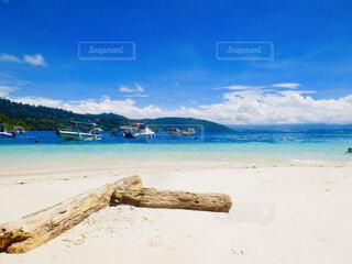 水の体の横にある砂浜のビーチの写真・画像素材[1616595]