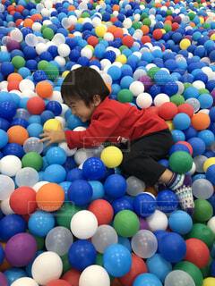 カラフルなボールプールで遊ぶ男の子の写真・画像素材[1604096]