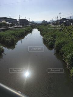 太陽の反射が眩しい川景色の写真・画像素材[1621463]