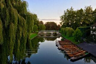 川と森の風景とボートの写真・画像素材[742659]