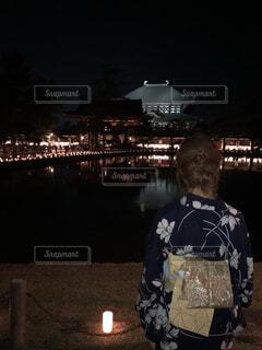 ライトアップに映える後ろ姿の写真・画像素材[1613527]