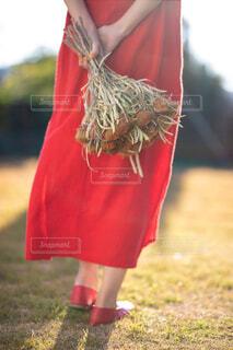 小さな男の子が赤いドレスを着ての写真・画像素材[1632586]