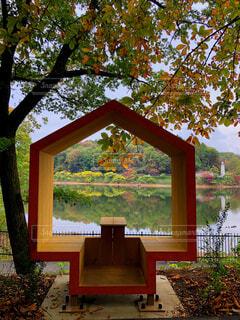 湖の前のベンチの写真・画像素材[1645888]