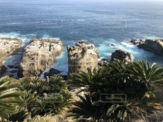 水の体の横にある岩のビーチの写真・画像素材[1660537]