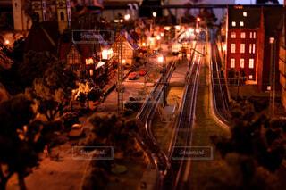 夜の鉄道の写真・画像素材[1666731]
