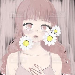 白い花と少女の写真・画像素材[1692600]